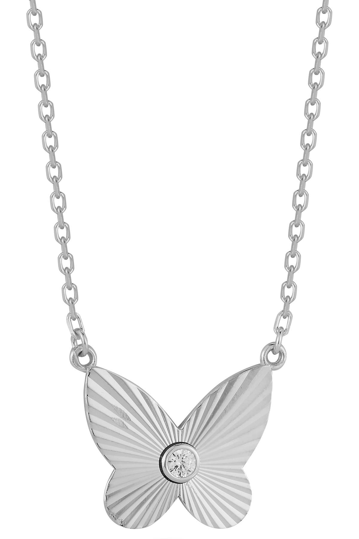 Image of Sphera Milano Sterling Silver CZ Butterfly Necklace
