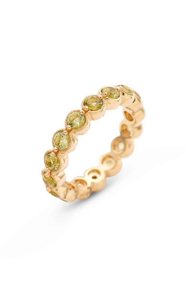 BONY LEVY Peridot Bezel Set Eternity Ring, Main, color, YELLOW GOLD/ PERIDOT