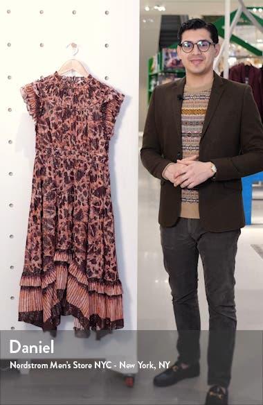 Amalia Metallic Stripe Ruffle Midi Dress, sales video thumbnail