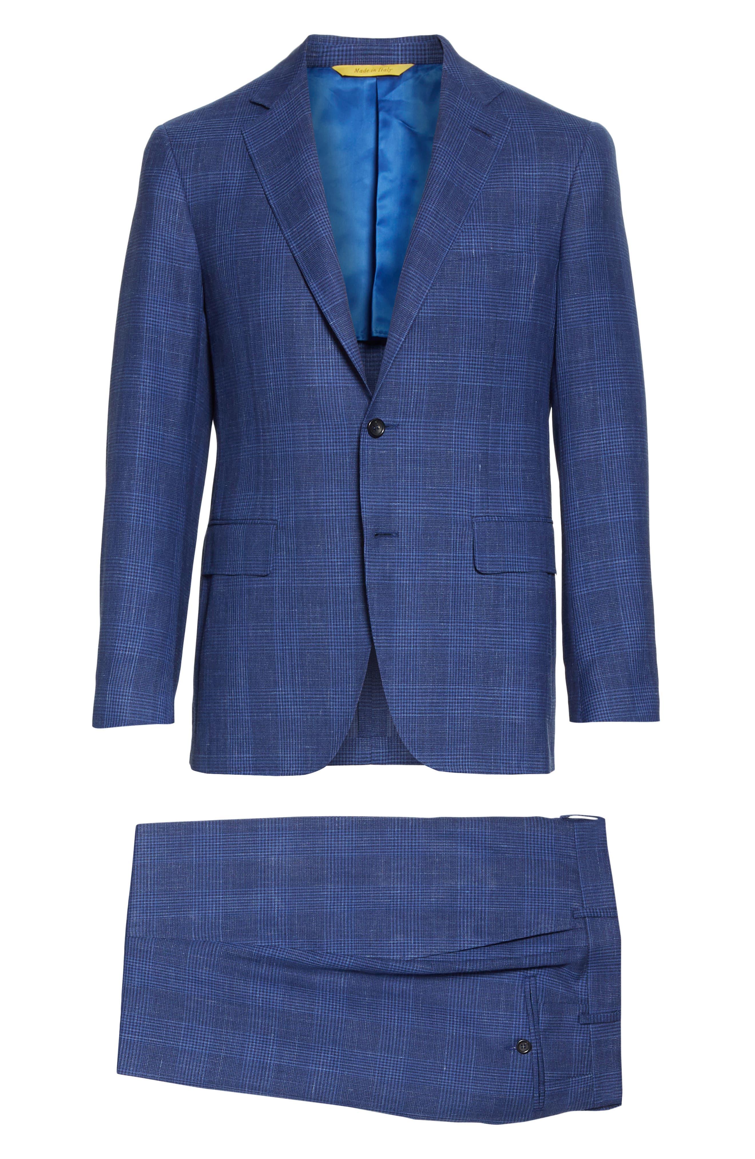 ,                             Kei Trim Fit Plaid Wool Blend Suit,                             Alternate thumbnail 8, color,                             BRIGHT BLUE