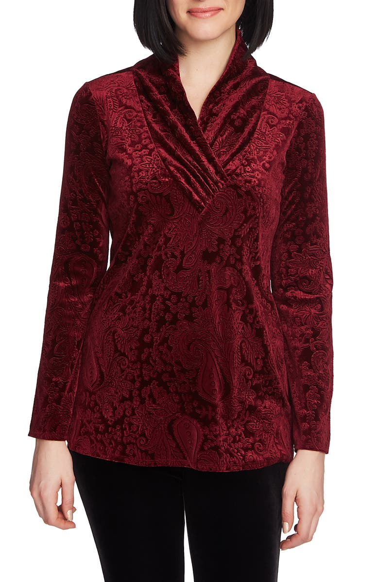 CHAUS Paisley Velvet Top, Main, color, ROYAL CRANBERRY