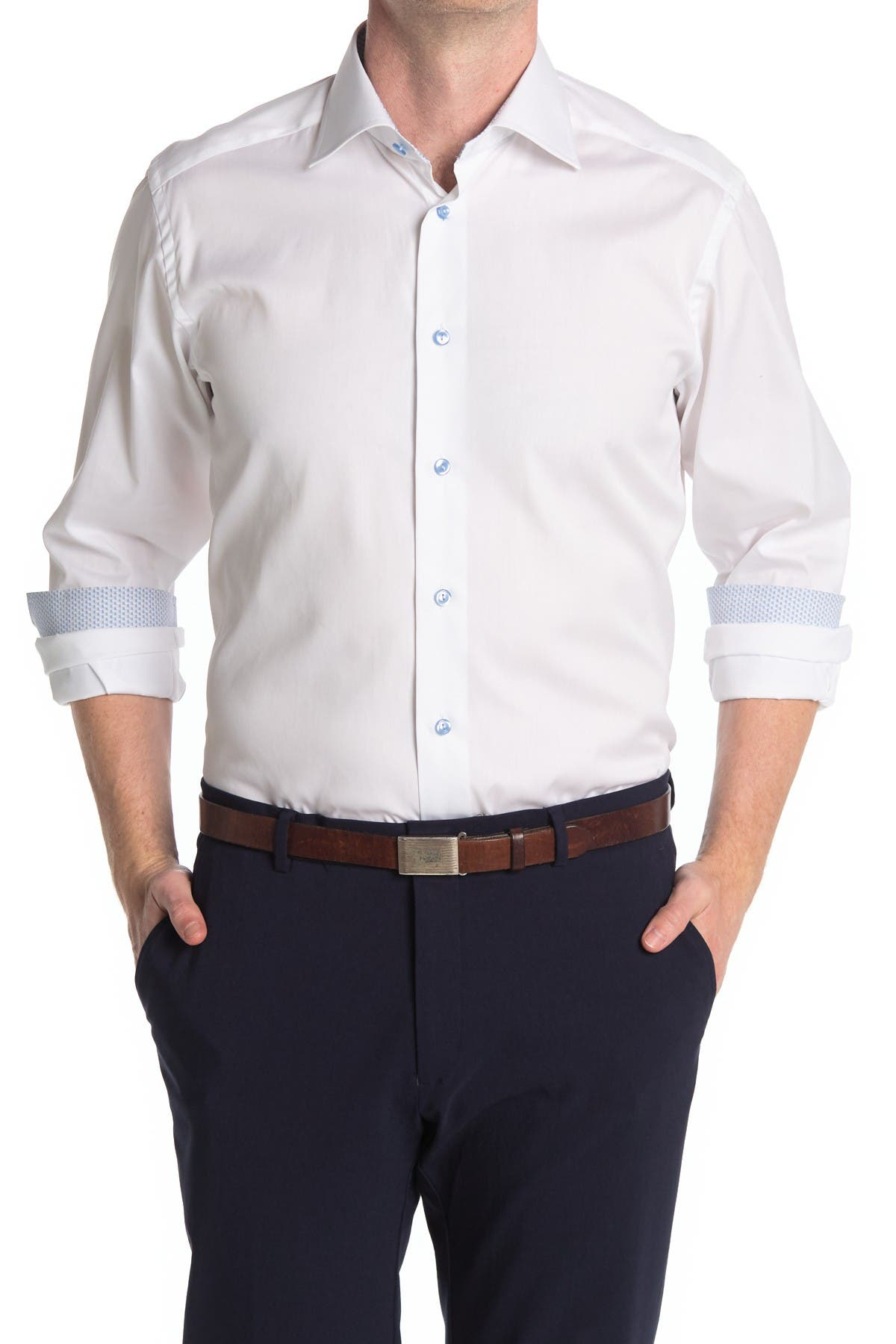Details about  /NWT Eton men/'s size M long sleeve button down shirt chain link jacquard Slim Fi