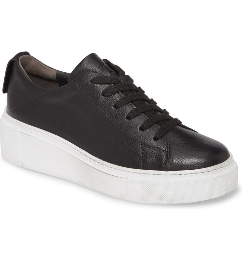 PAUL GREEN Debbie Wedge Sneaker, Main, color, BLACK LEATHER