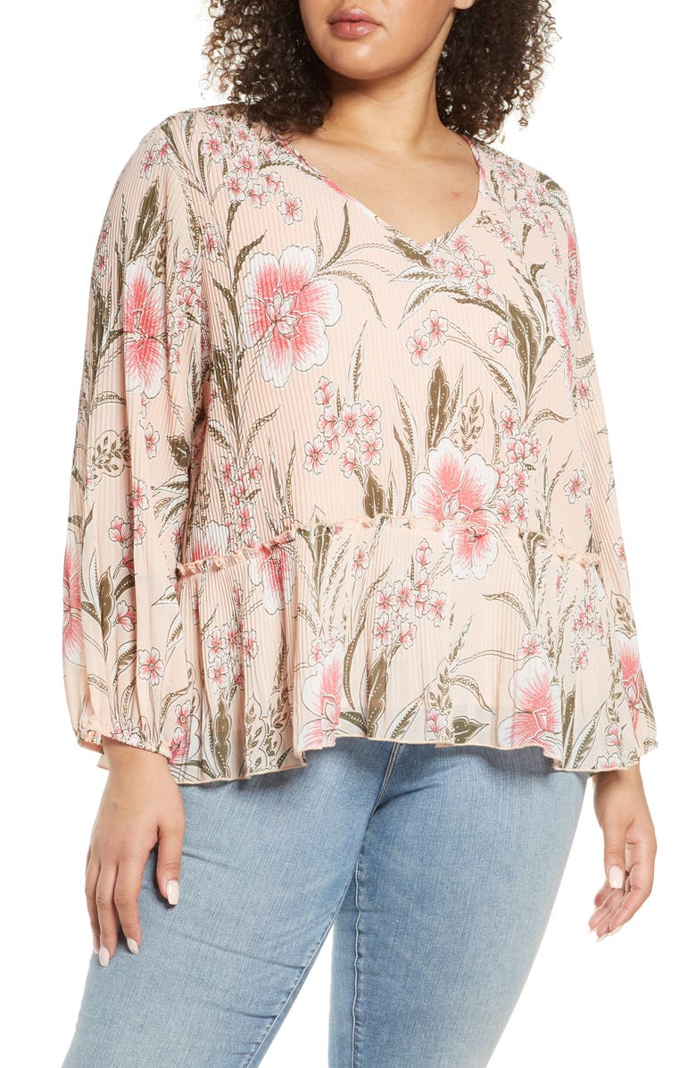 SINGLE THREAD Pleated V-Neck Floral Blouse, Main, color, 674