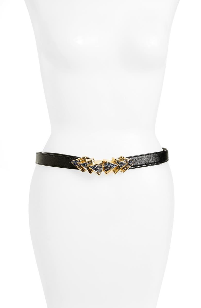 RAINA Venice Leather Belt, Main, color, BLACK