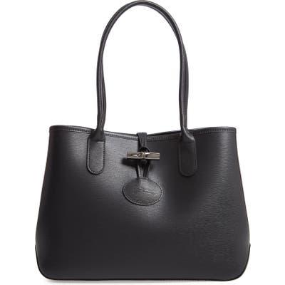 Longchamp Roseau Leather Tote - Black