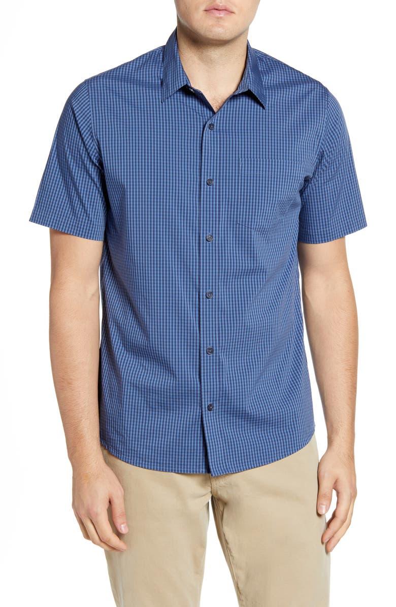 TRAVISMATHEW Dive In Trim Fit Plaid Short Sleeve Button-Up Sport Shirt, Main, color, RIVERSIDE/ MOOD INDIGO