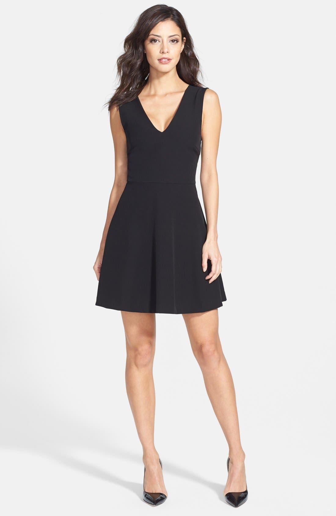 ,                             Bianca Back Cutout Fit & Flare Dress,                             Alternate thumbnail 9, color,                             001