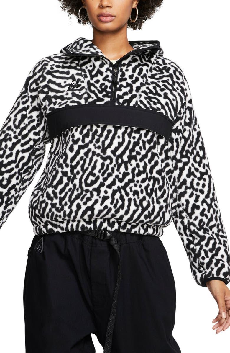 NIKE ACG Fleece Anorak, Main, color, WHITE/ BLACK/ BLACK