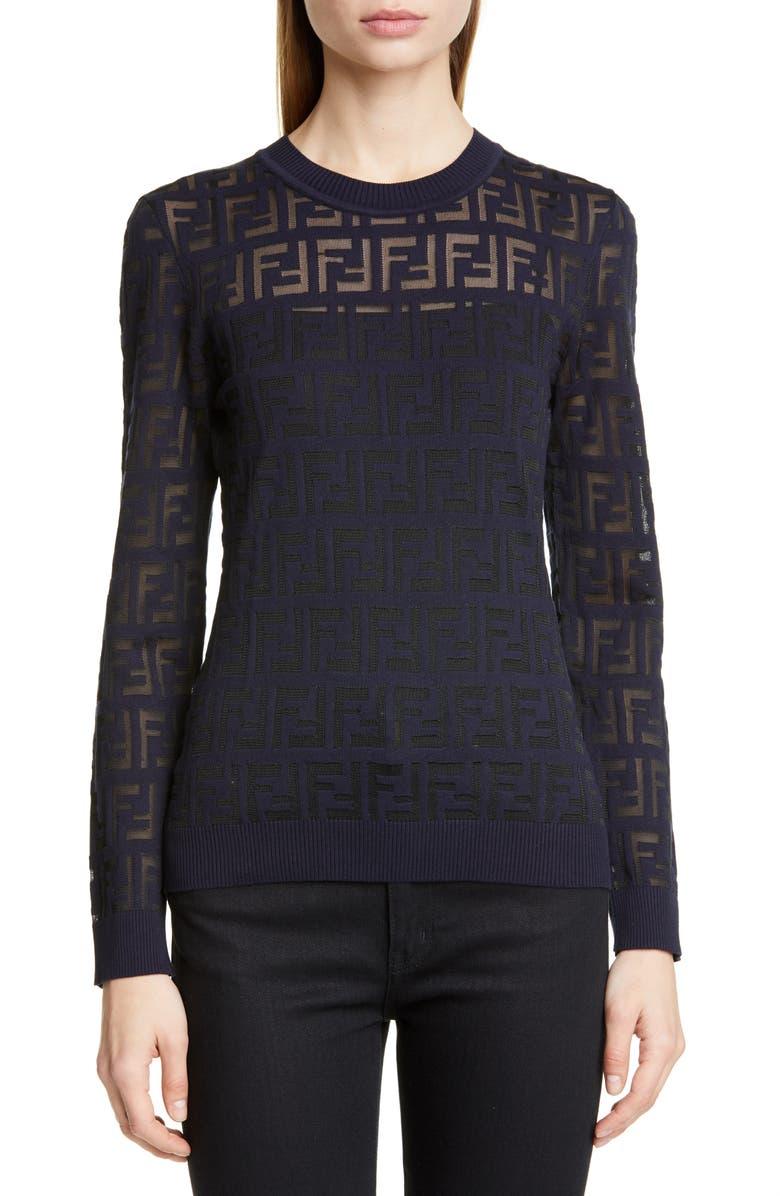 FENDI Logo Jacquard Sweater, Main, color, ACAI BLACK