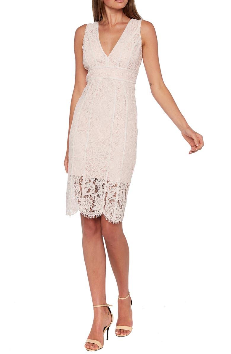 BARDOT Lisa Lace Sheath Dress, Main, color, PARFAIT PINK