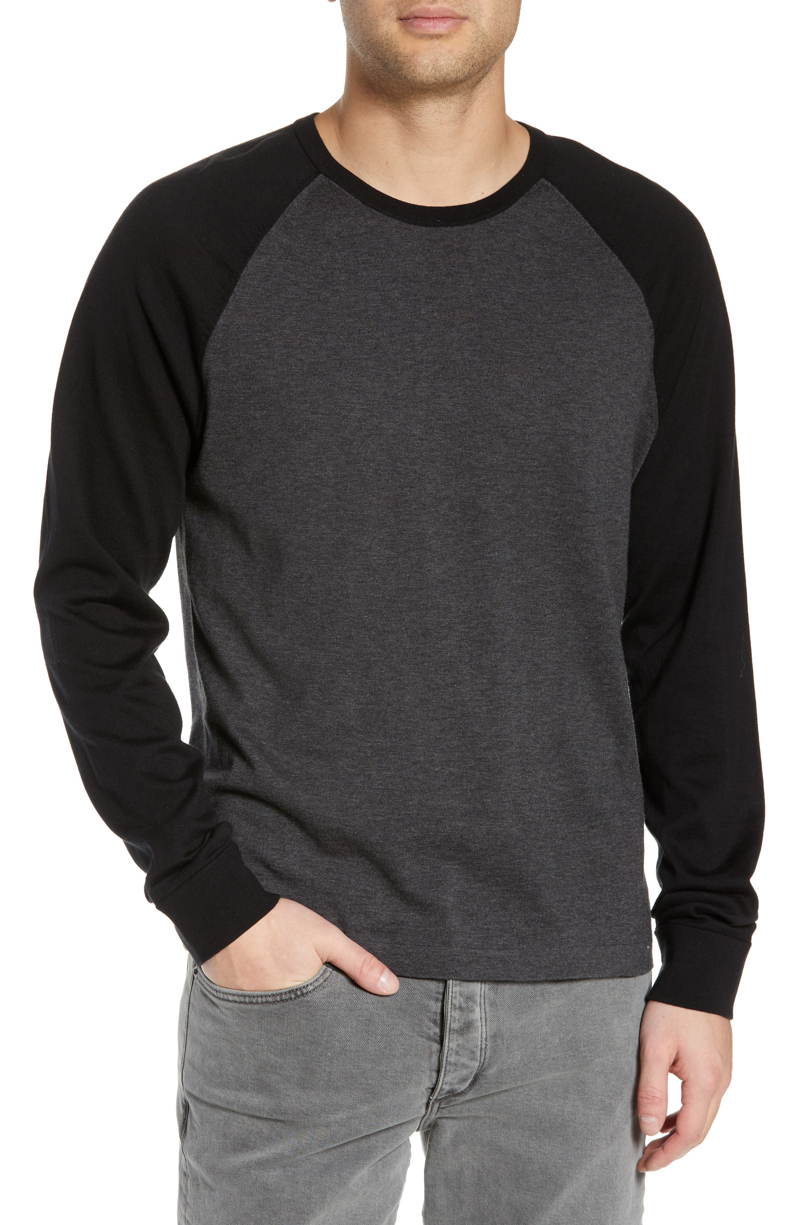 ,                             Jersey Crewneck Sweater,                             Main thumbnail 1, color,                             HEATHER/ CHARCOAL BLACK