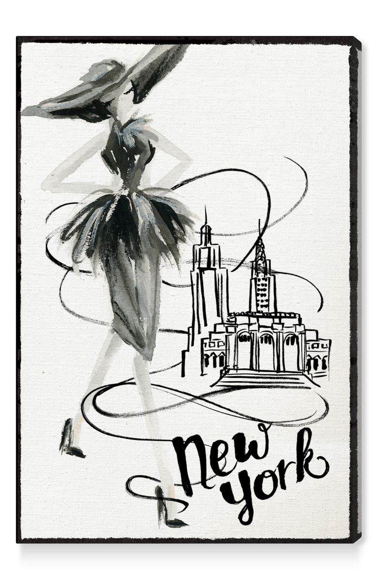 OLIVER GAL Fashion Doll New York Canvas Wall Art, Main, color, WHITE