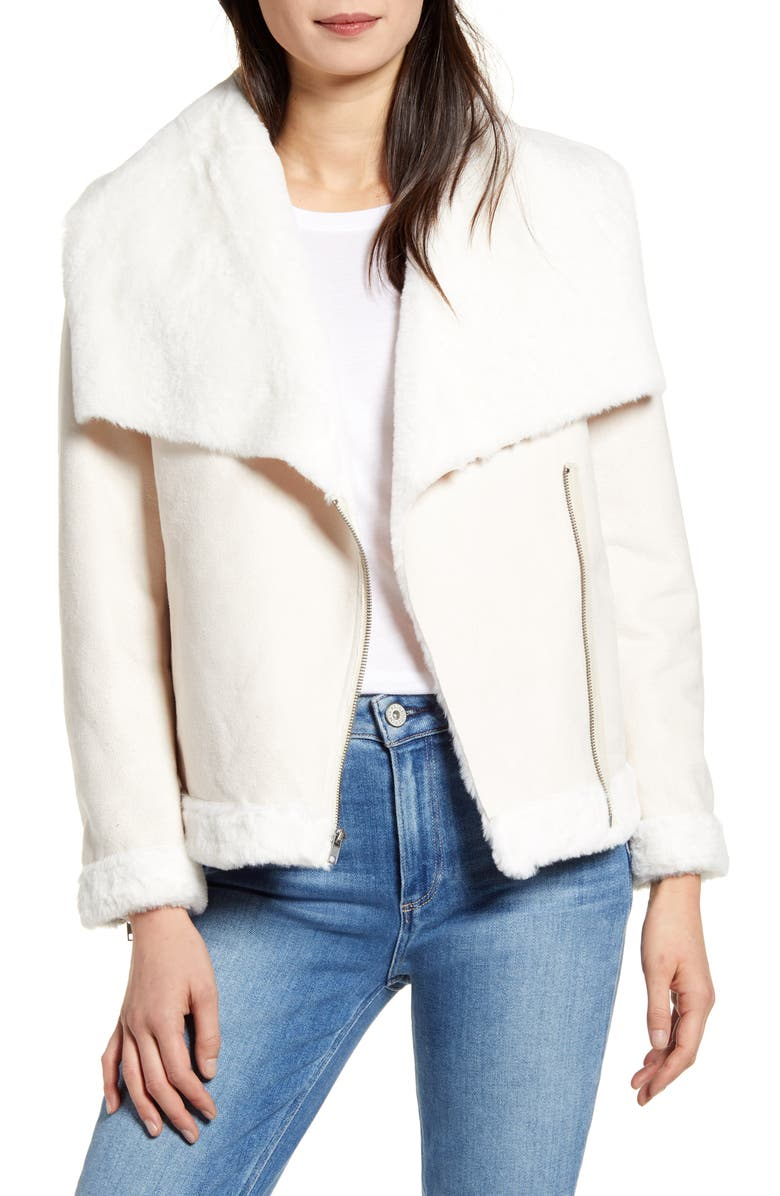 CUPCAKES AND CASHMERE Dublin Faux Fur Moto Jacket, Main, color, SOFT BEIGE