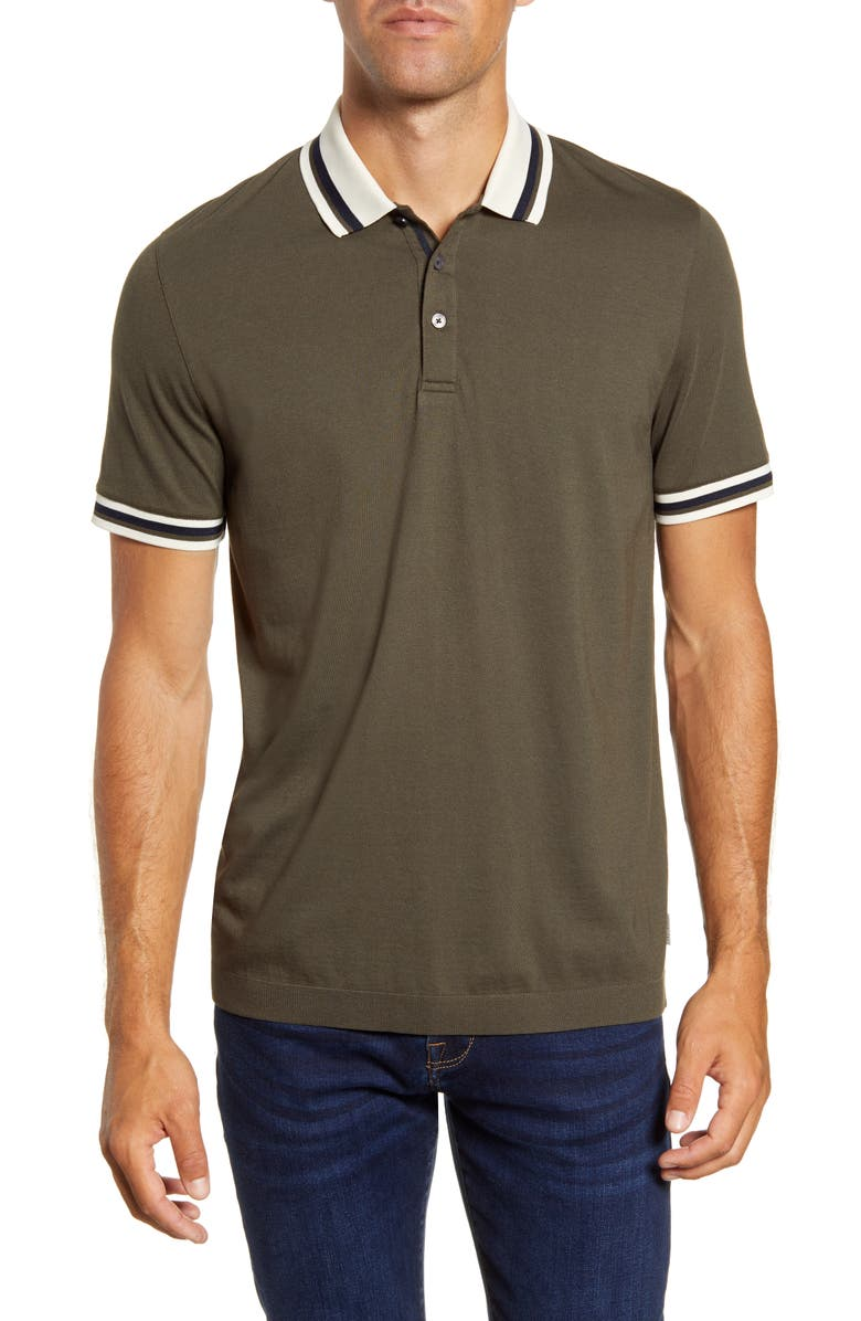 TED BAKER LONDON Ribstart Slim Fit Stripe Collar Polo, Main, color, KHAKI