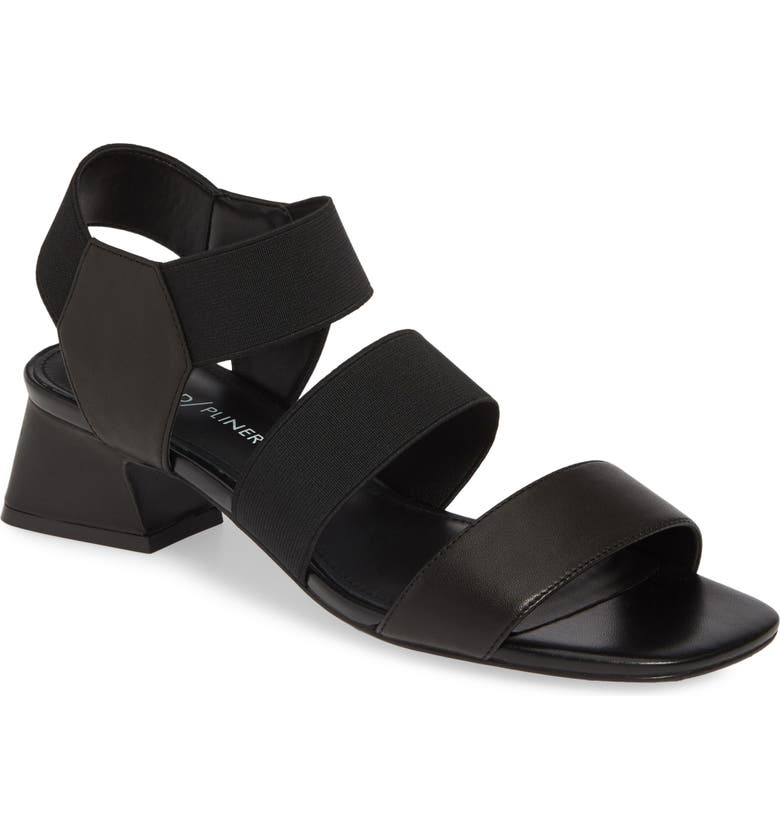 DONALD PLINER Britini Sandal, Main, color, BLACK LEATHER/ FABRIC
