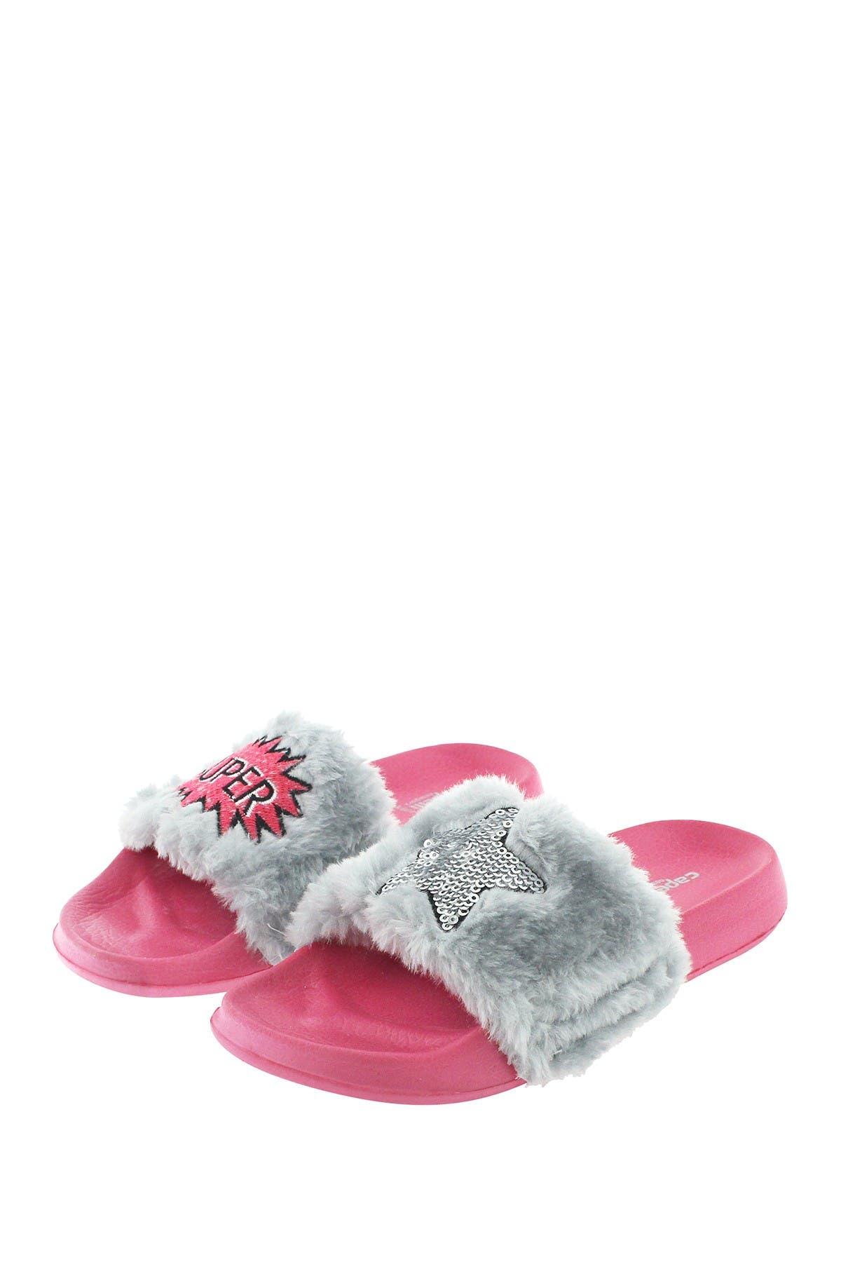 Image of CAPELLI OF NEW YORK Super Star Faux Fur Slide Sandal