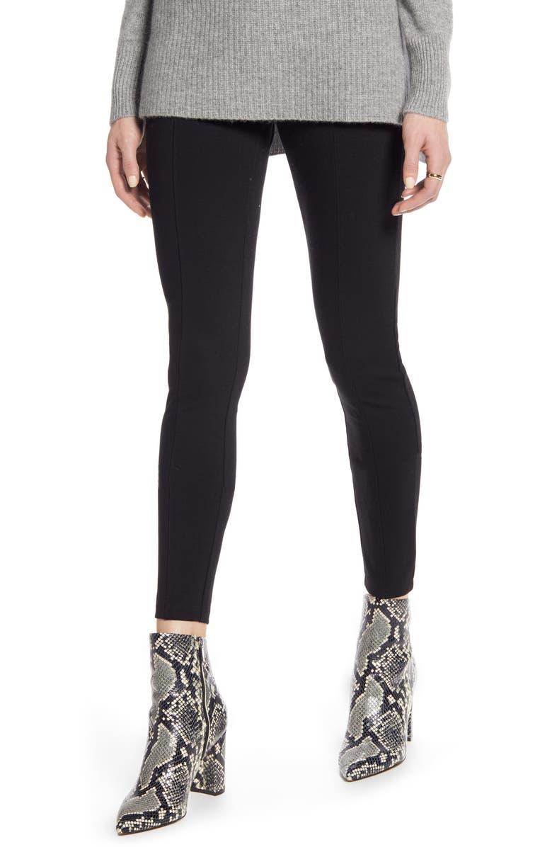 HALOGEN<SUP>®</SUP> Seamed Leggings, Main, color, BLACK