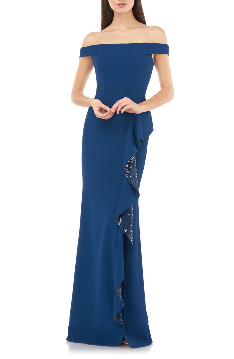CARMEN MARC VALVO INFUSION Off the Shoulder Sequin Ruffle Gown, Main, color, CADET