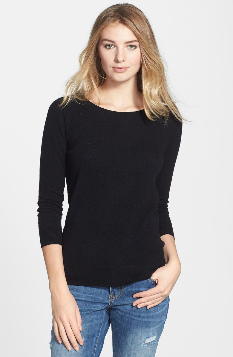 HALOGEN<SUP>®</SUP> Lightweight Cashmere Sweater, Main, color, 001