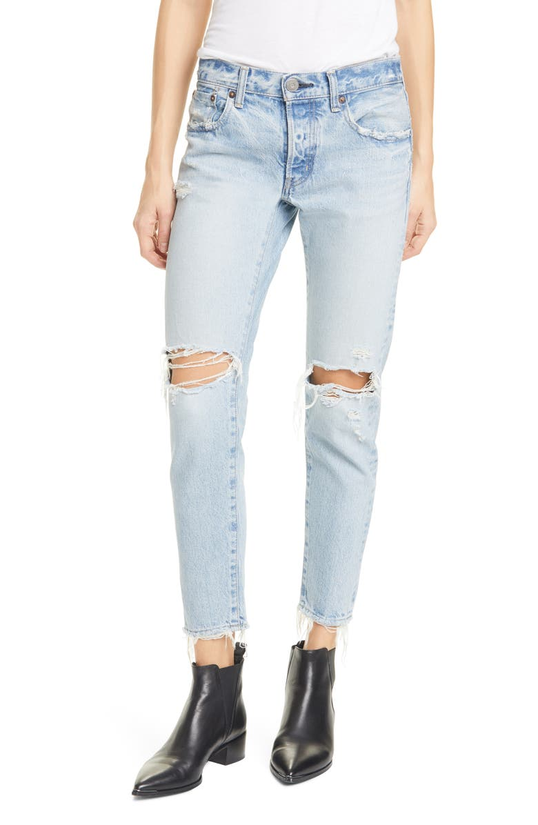 MOUSSY VINTAGE Yardley Ripped Tapered Jeans, Main, color, LIGHT BLUE