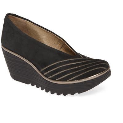 Fly London Yaku Wedge Pump, Black
