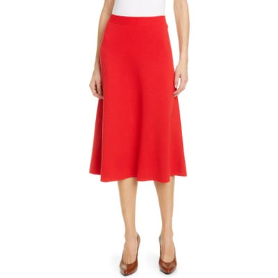 Gucci A-Line Wool Sweater Skirt, Red
