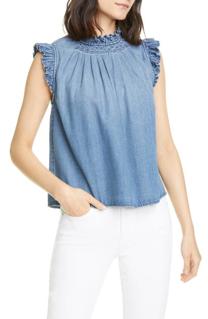 Frame Tops RUFFLE TRIM CHAMBRAY TOP