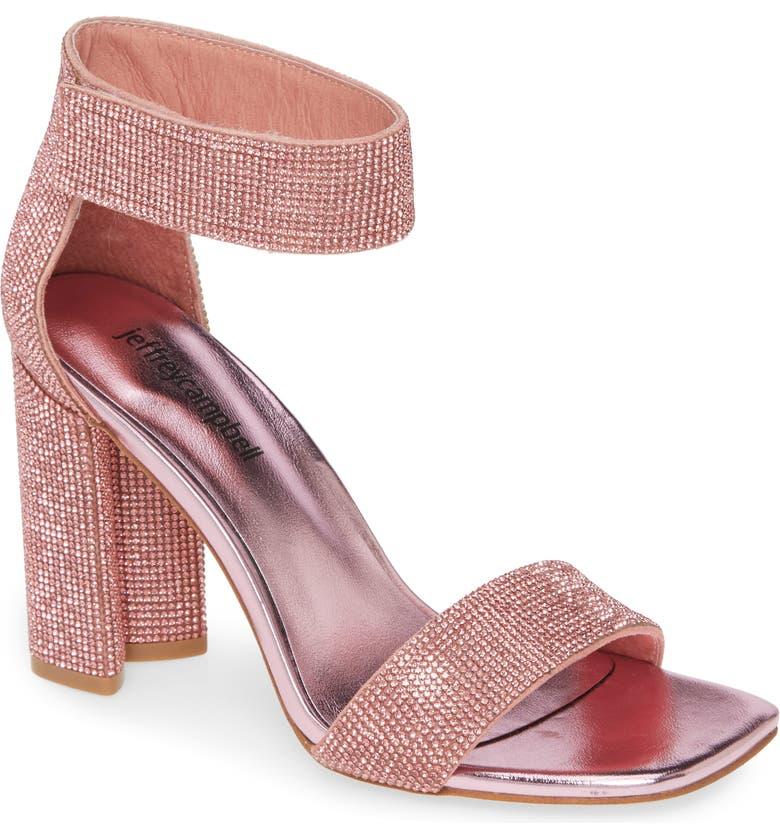 JEFFREY CAMPBELL Lorena Embellished Ankle Strap Sandal, Main, color, PINK COMBO