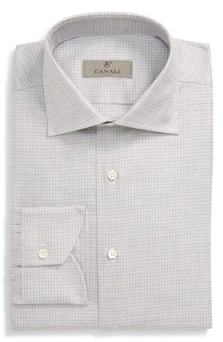 CANALI Regular Fit Check Dress Shirt, Main, color, GREY
