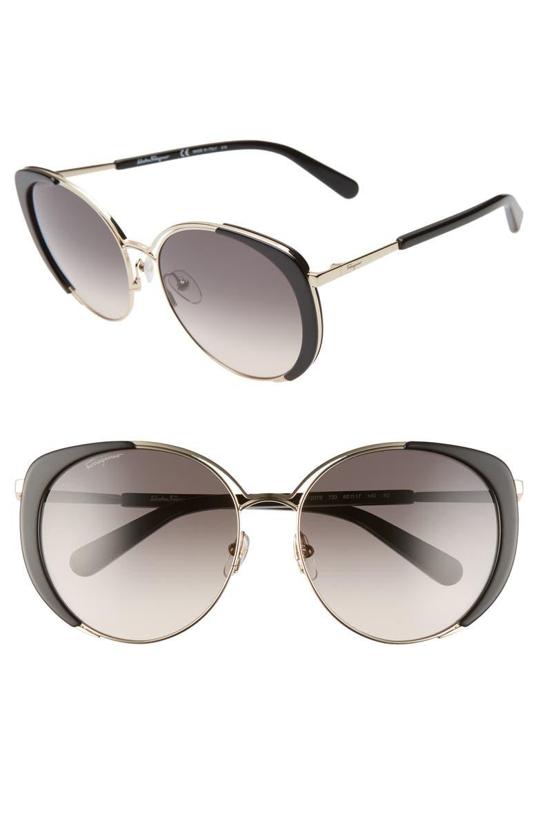 SALVATORE FERRAGAMO 60mm Gradient Cat Eye Sunglasses, Main, color, LIGHT GOLD/ BLACK