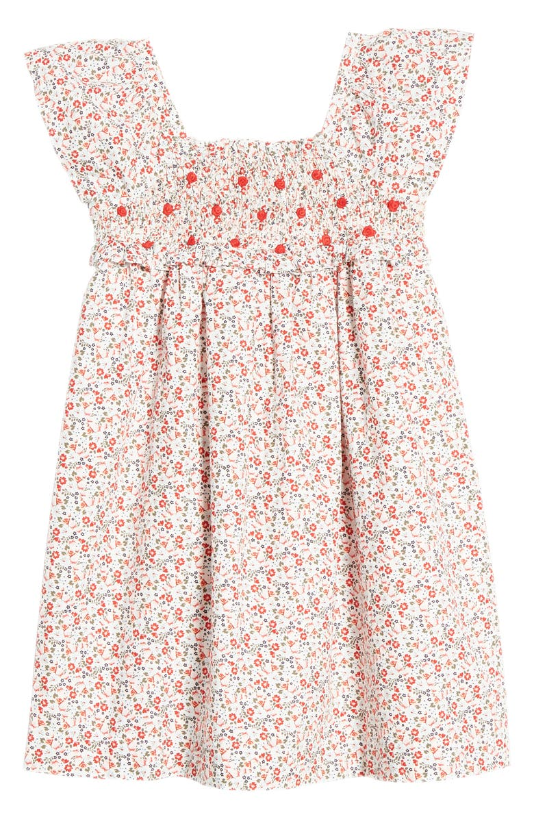 NORDSTROM Pretty Smocked Dress, Main, color, WHITE- RED TROPIC DITSY