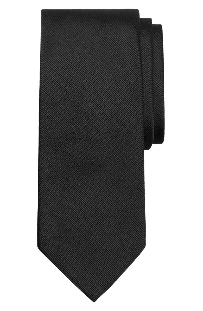 BROOKS BROTHERS Solid Silk Tie, Main, color, BLACK