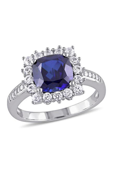 Image of Delmar Sterling Silver Diamond Created Blue & White Sapphire Ring