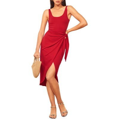 Reformation Kaila Wrap Style Jersey Dress, Red