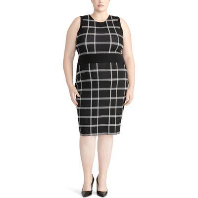 Plus Size Rachel Roy Collection Oversize Plaid Sleeveless Dress, Black