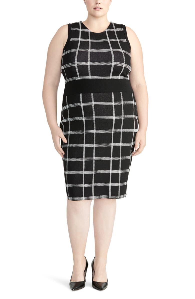 RACHEL ROY COLLECTION Oversize Plaid Sleeveless Dress, Main, color, 001