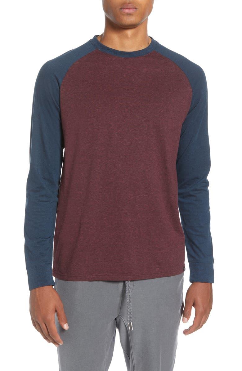 THREADS 4 THOUGHT Triblend Raglan Long Sleeve Crewneck T-Shirt, Main, color, MAROON RUST/ MIDNIGHT