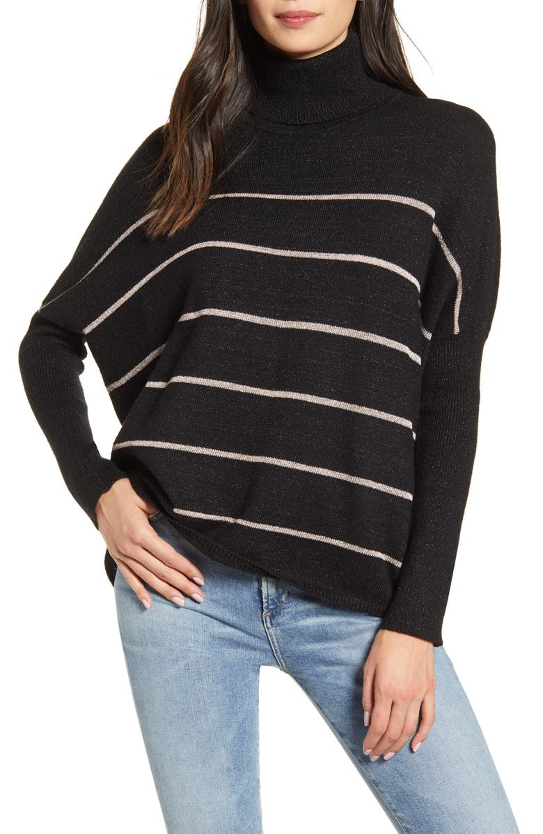 CUPCAKES AND CASHMERE Sydney Metallic Stripe Turtleneck Sweater, Main, color, BLACK