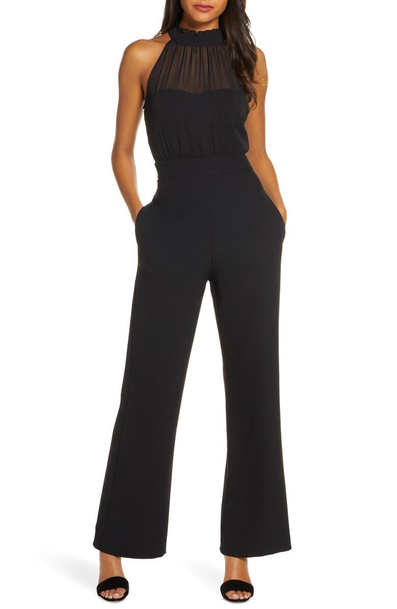 VINCE CAMUTO Chiffon Halter Jumpsuit, Main, color, BLACK