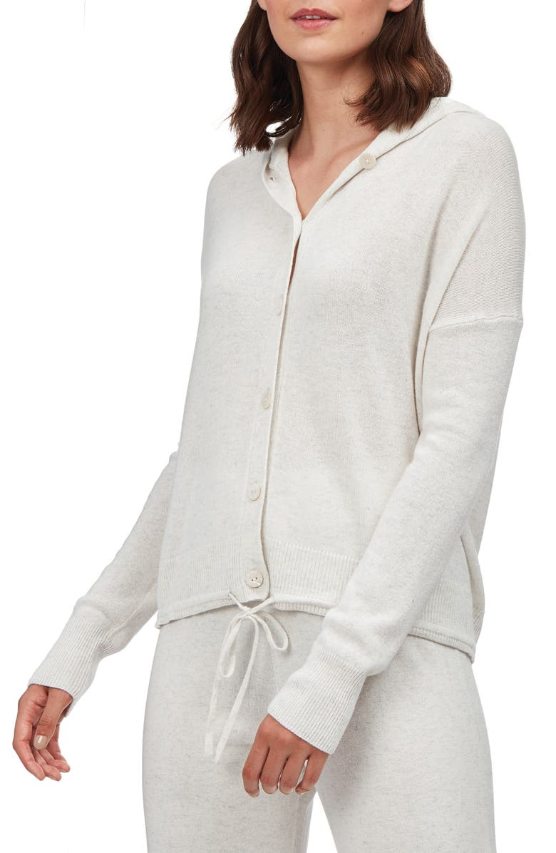 THE WHITE COMPANY Button Front Hoodie, Main, color, CLOUD