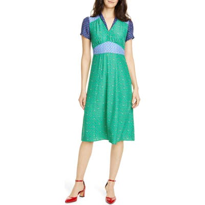 Hvn Morgan Colorblock Floral Silk Dress, Green