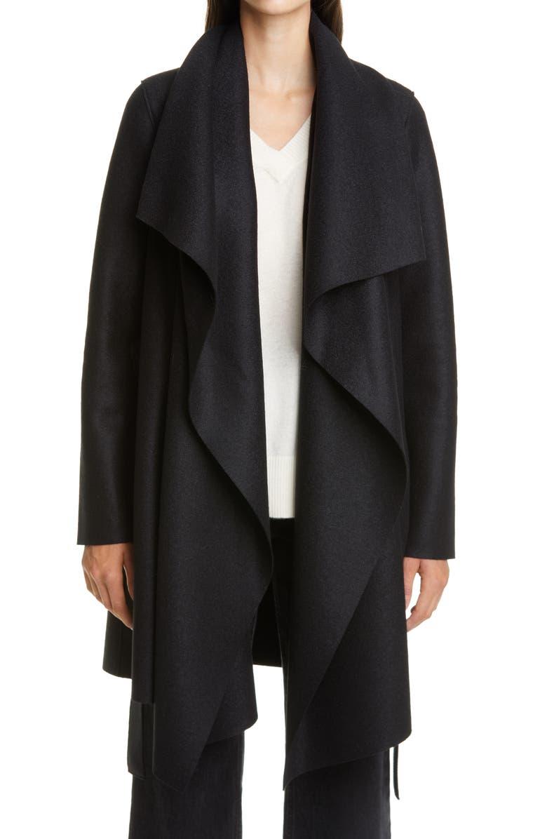 HARRIS WHARF LONDON Draped Wool Coat, Main, color, BLACK