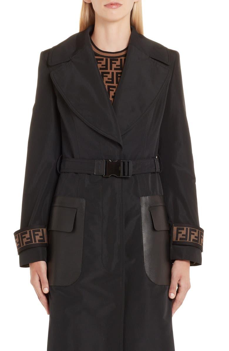 FENDI Leather Pocket Trench Coat, Main, color, BLACK