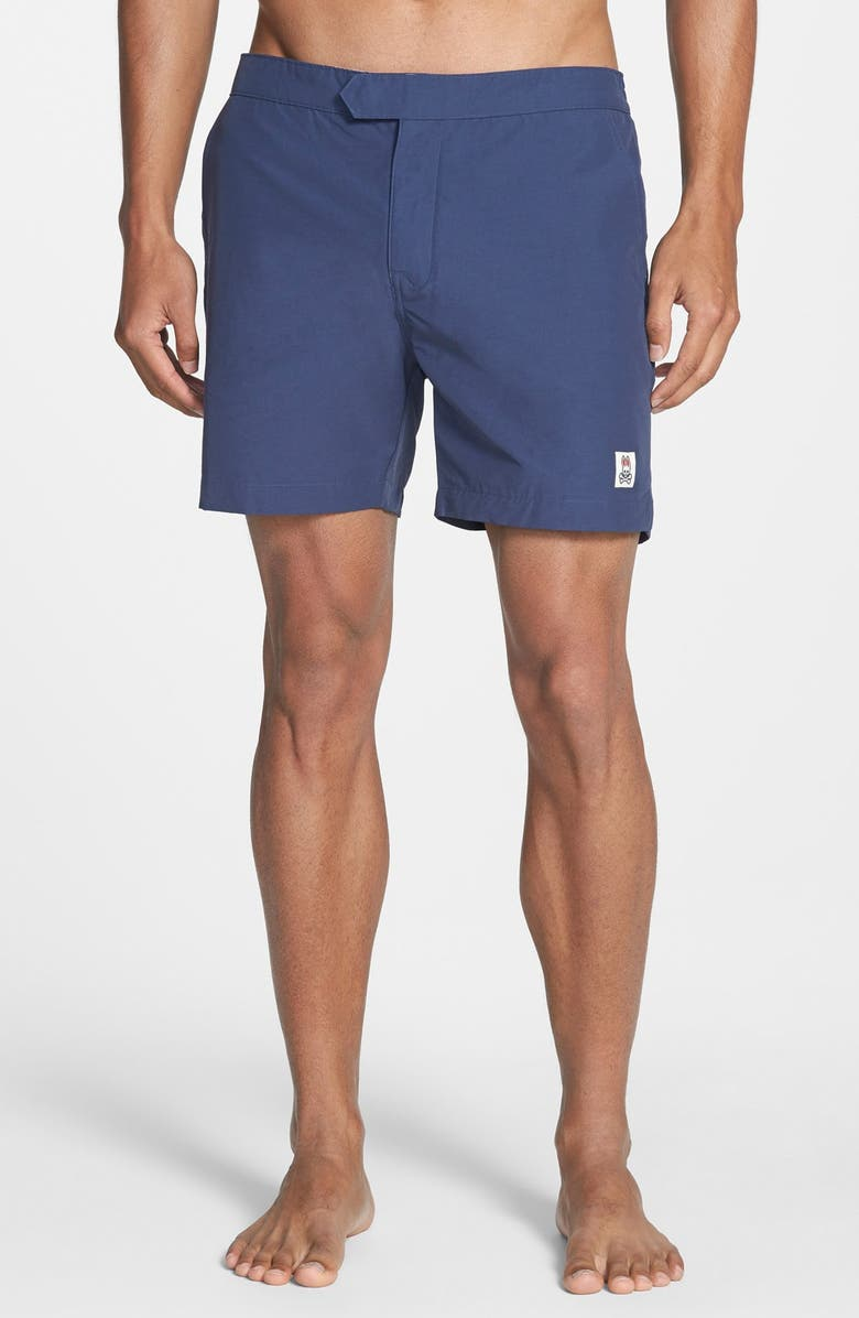 PSYCHO BUNNY Solid Swim Shorts, Main, color, 407