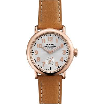 Shinola The Runwell Leather Strap Watch,