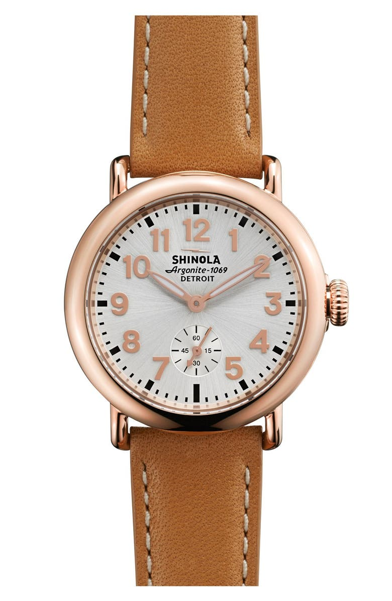 SHINOLA The Runwell Leather Strap Watch, 36mm, Main, color, NATURAL/ ROSE GOLD