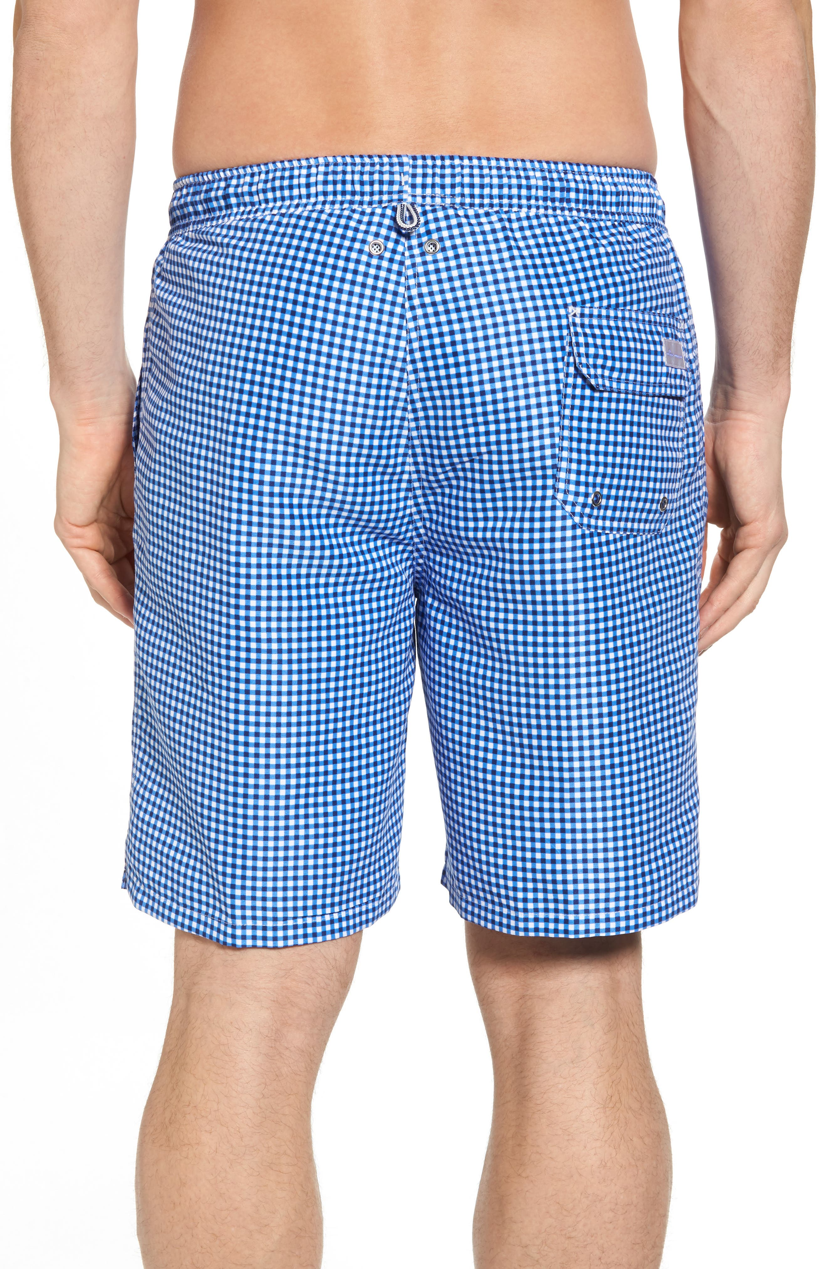 ,                             Gingham Style Swim Trunks,                             Alternate thumbnail 2, color,                             ATLANTIC BLUE