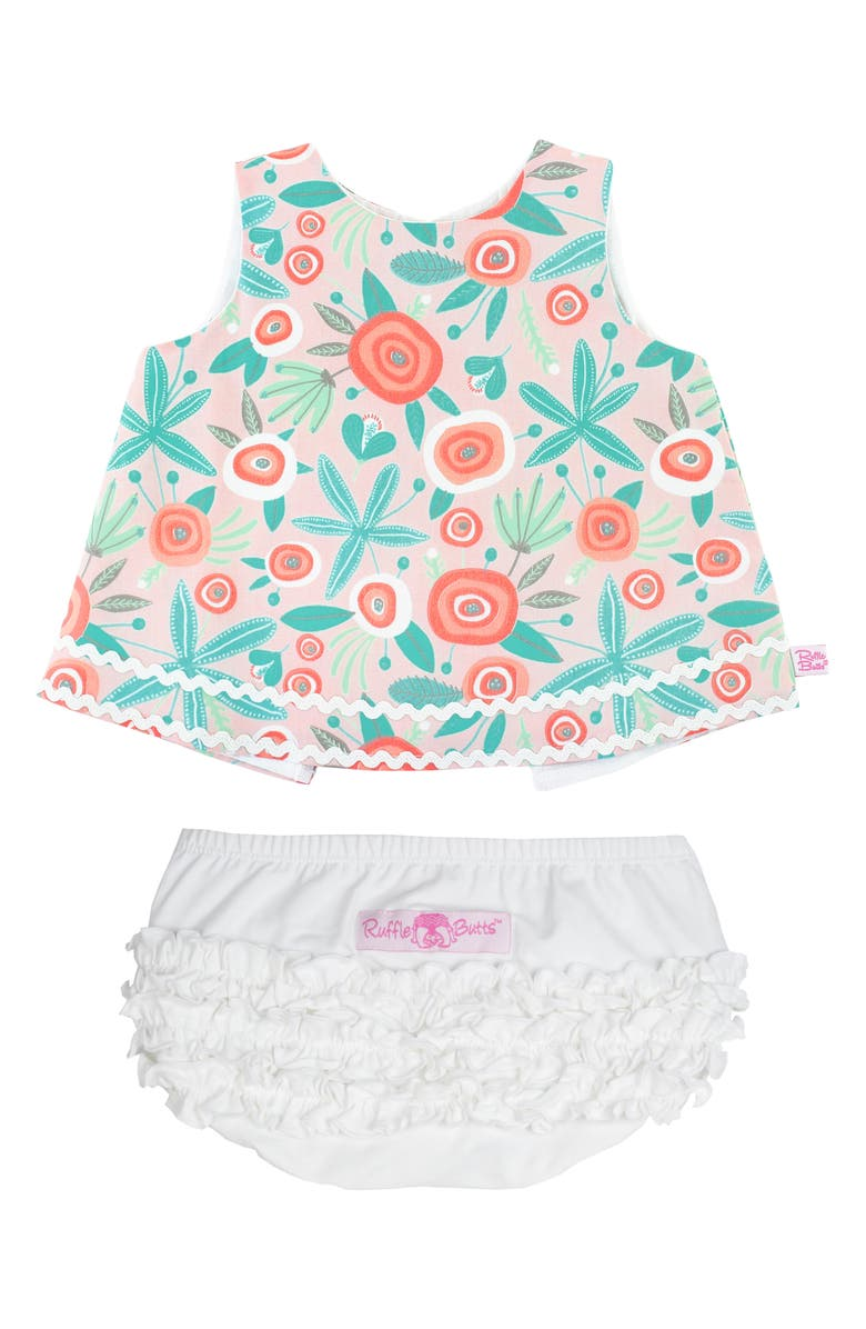RUFFLEBUTTS Floral Print Swing Top & Ruffle Bloomers Set, Main, color, FLORAL MULTI