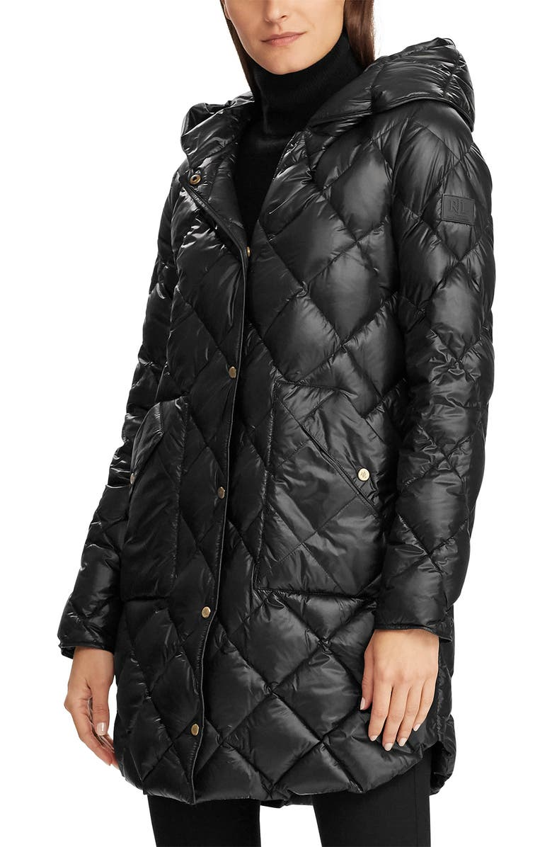 LAUREN RALPH LAUREN Modern Soft Diamond Quilted Hooded Down Coat, Main, color, BLACK